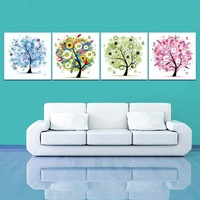 4 Panel Modern Colorful Flower Tree Oil Canvas Art Printing Picture Home Office Decoration Free Shipping