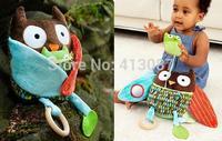 Hug and hide activity toy Owl Bear Goat Monkey and Dog style plush nursery baby rattle