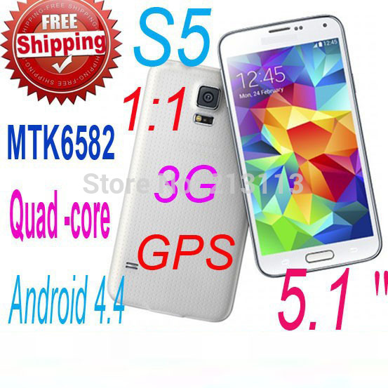 In Stock original S5 i9600 cell phones 5.1 inch MTK6582 3G GPS 13MP quad core android 4.4 G900 Mobile phone ( Free Case)(China (Mainland))