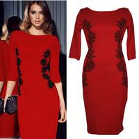 Women Clothes Summer Dress 2014 Cotton Sheath Casual Dress Mid-Calf Half Sleeve-Length O-Neck Embroidery Women Dress N25