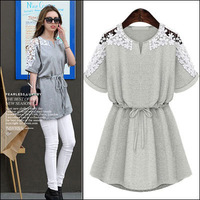 M-5XL Fashion Dresses New 2014 Summer Ladies Vintage White/Gray Hook Flower Plus Size Lace Dress Casual Slim Women Clothing