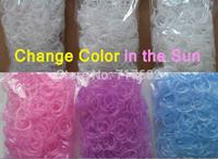 100bags/lot loom bands UV LIGHT CHANGING COLOR IN THE SUN 3 colors refill bandz(600pcs+12pcs S/c clip+1hook) fun for bracelet