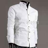 High quality men plaid long sleeve shirts mandarin collar men tops men clothing wholesale C33