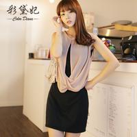 free shipping 2014 summer women's plus size elegant two piece set dress fashion sleeveless drap set slim  dress