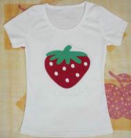 TXS005 cute strawberry 100% cotton women t-shirt