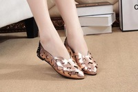 Fashion flat pointed hollow out paint retro shoes for women's shoes. Free shipping