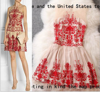 2014 brand new women's spring summer fashion wear European top brand fashion embroidery dress elegance party dress T1822