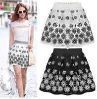 2014 New Fashion Summer Slim Organza Puff Print Elastic Waist Female Bust Skirts
