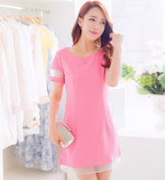 free shipping 2014 summer women's sweet candy color dress female short-sleeve organza plus size slim basic office lady dress