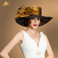 Vintage fashion Elegant fedora sinamay hat fascinator kentucky derby hats chapeu gorro elegant wedding church hats for women