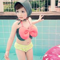 2014 bow fashion bikini child swimwear female baby