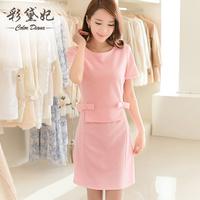 free shipping 2014 summer women's elegant plus size dress female o-neck short sleeve slim medium-long sweet princess dress OL