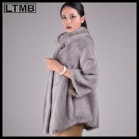Women Grey mink fur coat with three quarter sleeve turn down collar genuine fur slim style overcoat