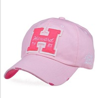 1pc Free shipping  baseball cap Women wave leisure casual unisex couple hat  letter alphabet H PINK