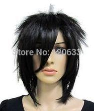 Vogue short black straight cosplay men's hair full wig Hair High quality wig  human Kanekalon Fiber Hair wigs Free shipping