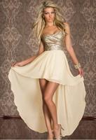 M L Size elegant women off shoulder strapless sleeveless irreguler asymmetrical sequin long chiffon sexy wedding party dress