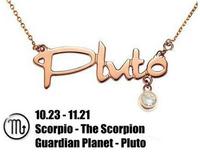 12 Zodiac /Constellation Scorpio-The Scorpion Guardian Planet-Pluto Pendant 14K Rose Gold Plated Titanium Steel Necklaces