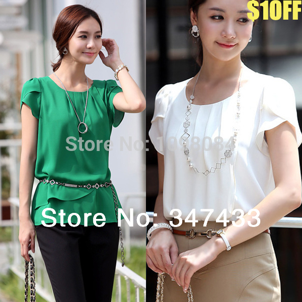 Blusa chiffon blouse office shirt big size women clothes women's summer blouses white green tops 3xl 4xl for woman large WD026(China (Mainland))