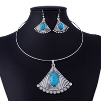 Vintage Silver Blue Turquoise Retro Fan Necklace and Earring Jewelry Set 2014 New Fashion Jewelry Free Shipping