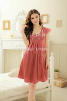 2014 New summer sleepwear lady charming sexy sweet women's rayon solid thin female nightdress pajama 51577