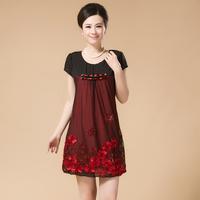 XL-4XL 5COLOR New Arrival 2014 Summer Middle-age women short-sleeve Plus Size 0ne-piece Dress One-piece Dress Top Quality