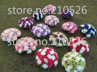 wedding party & event props road lead / table centerpiece / marble pillar decorative 36 head artificial silk flower 10pcs/lot