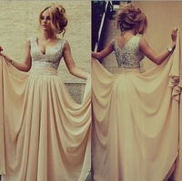 New Style 2014 V-Neck Sequined Long Chiffon Sleeveless Elegant Sexy Prom Dresses 2014