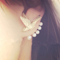 2014 Fashion Brand Designer Gold Stud Earring Punk Flying Birds Pearl Earrings For Women Party Jewerly E41