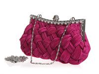 Brand New Fashion Women's Handbags. Hand-woven Satin Diamond Clutch Evening Dinner Bag. Chain Shoulder Crossbody Free Shipping