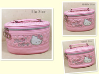 HelloKitty Cat Face  Pink  Cosmetic Makeup Bag Case 2014 New Lady Girl Women 1Set(3Sizes) Free Shipping