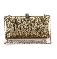 New women's Fashion Sequined Handbag. Hand-beaded Bridal Clutch Purse. Lady Shoulder Messenger Chain Evening Bag. Free Shipping
