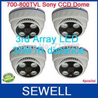 700TVL 800tvline sony Effio CCD IR  Dome Camera 4pcs, Array LED 35M Indoor surveillance camera, free shipping,drop shipping