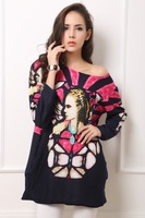 Factory Detail Sale Women Print picture  Wide and Loose Fashion  Long T-shirt Plus size
