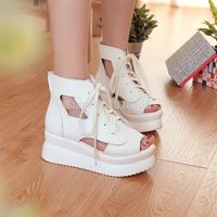 White/Black Summer Women's PU Fish Mouth Antiskid Bind Lace-up Sandals Platform US size 5-7.5
