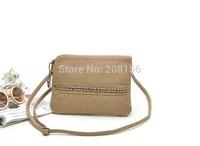 Brief nice elegant khaki PU cross-body handbag for women cheap PU clutches nice shoulder bag  purse Free Shipping