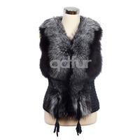 2014 Autumn Winter Ladies' Genuine Sheepskin Leather Vest Fox Fur Patchwork Women's Leather & Fur Waistcoat Outerwear QD30323