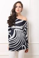 Factory Directly Sale !New! Women Wide Fashion Print  Striped T-shirt Plus size