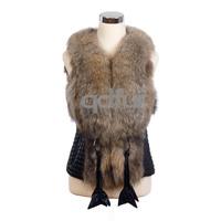 2014 Autumn Ladies' Genuine Leather Vest Raccoon Fur Patchwork Women's Winter Leather & Fur Waistcoat Outerwear QD30323A