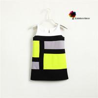 New Children Dress Girls Summer Vest Dress Jersey Fabric Modern Patchwork Fashion Design Children Clothing