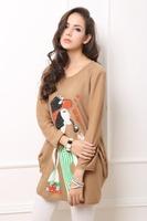 Factory Detail Sale !New! Women Wide Fashion Print  Character T-shirt Plus size