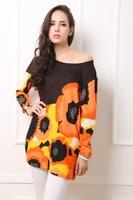 Factory Detail Sale !New! Women Wide Fashion Print T-shirt Plus size