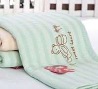 2014 New High Quality Strong Water Absorbent Cute Bear Stripe Embroidery  Soft Cotton Face Towel For Children Green/Red/Blue