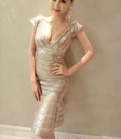 New Sexy Women Deep v-neck Black Silver Dresses Shinning Fishtail Fashion Sheath Bodycon Club Wear HL Summer H585
