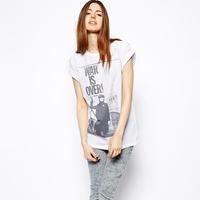 2014 summer new fashion Richcoco john lennon war is over print o-neck short-sleeve T-shirt d384