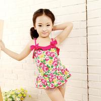 2014 child swimwear female one-piece dress pretty baby swimwear fashion