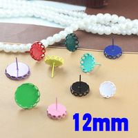 12mm New Multi-color Enamel Circle Lace Edge Bezel Blank Bases Stud Earrings Settings DIY Resin Dome Jewelry Findings Wholesale