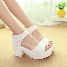 2014 In the summer Platform for women's shoes velcro open toe sandals female thick heel platform wedges platform women's shoes(China (Mainland))