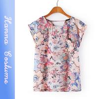 New arrival summer floral print t shirt 2014 fashion women t-shirt top short sleeve o-neck t shirts woman clothing