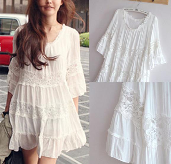 3 cores novas mulheres vestido de verão do anjo do Vintage Bohemian Hippie vestido rosa branca de renda Vestidos casuais blusa Tops Vestidos Vestidos(China (Mainland))
