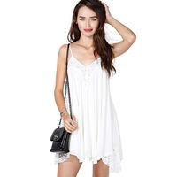 2014 summer Fashion sexy deep richcoco V-neck racerback strapless lace patchwork chiffon spaghetti strap one-piece dress d340